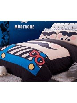 Cute Moustache Print 4-Piece Cotton Duvet Cover Sets
