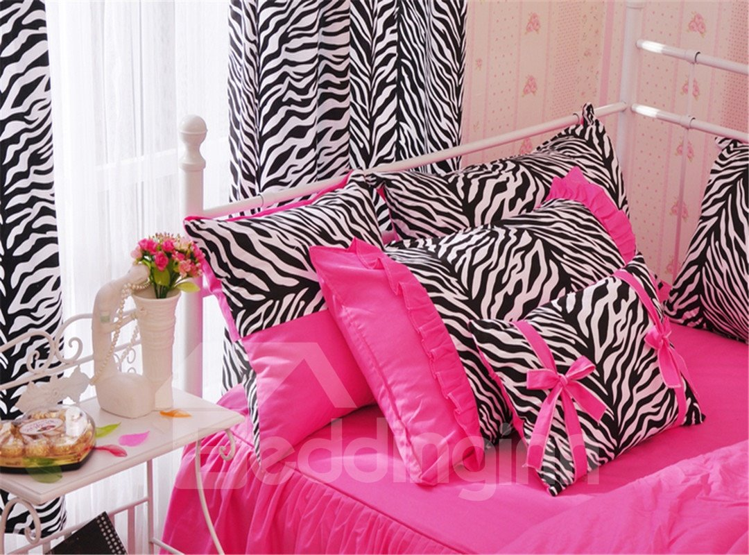 Product - Pink Zebra Twin Size Duvet Cover Set, African Zebra Couple Heads in the Shape of Heart Love Wedding Celebration, Decorative 2 Piece Bedding Set with 1 Pillow Sham, Pink .