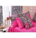 Charming Pink Zebra Pattern 4-Piece Cotton Duvet Cover Sets