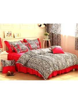 Pretty Red Zebra Pattern 4-Piece Cotton Duvet Cover Sets