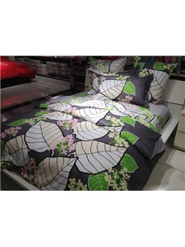 Delicate Leave and Flower Print  4-Piece Duvet Cover Sets