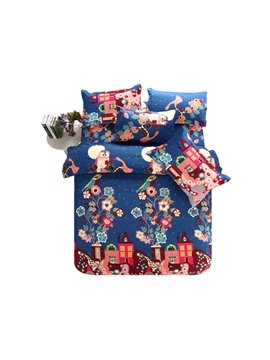 House and Flower Print Christmas Gift 4-Piece Polyester Duvet Cover Sets