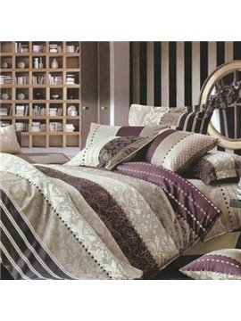 Quality Luxury Stripe Pattern Floral Bed in a Bag Set