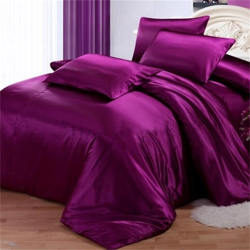 Second Skin Pure Purple  4-Piece Silk Duvet Cover Sets