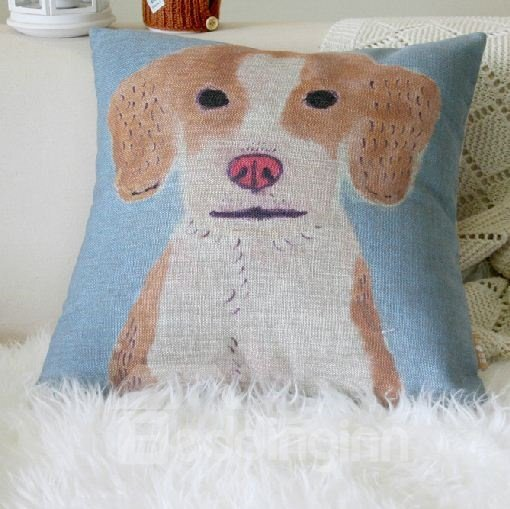 Quality Cute Dog Pattern Linen Throw Pillow