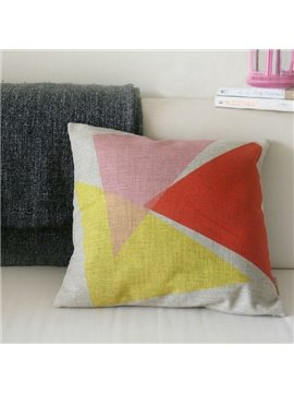 Wonderful Colorful Triangle Pattern Linen Throw Pillow