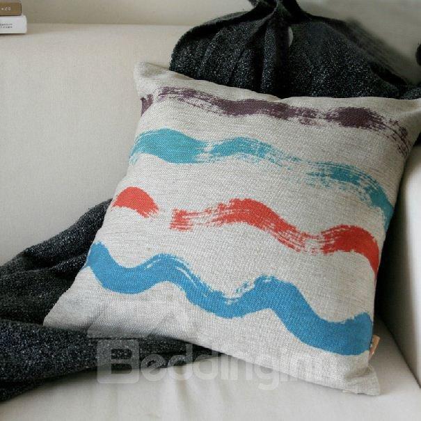Wonderful Watercolor Wave Element Linen Throw Pillow