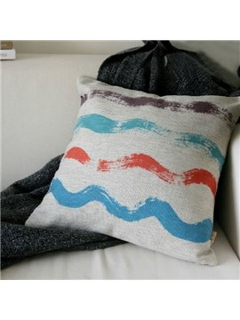 Wonderful Watercolor Wave Element Linen Throw Pillow