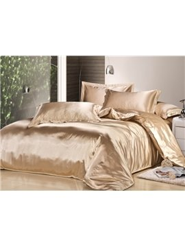 Luxury Camel 4-Piece Silk Duvet Cover Sets