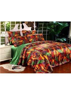 Super Soft Colorful Dream 4-Piece Silk-Like Fiber Duvet Cover Sets