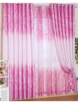Attractive Elegant Pink Floral Pattern Grommet Top Two-piece Custom Curtain