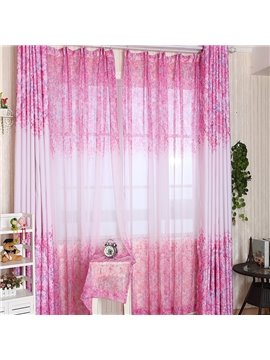 Attractive Elegant Pink Floral Printing Custom Sheer Curtain