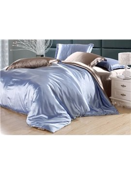 Second Skin Sky Blue and Camel 4-Piece Cellosilk Duvet Cover Sets