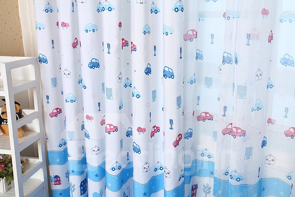 Cartoon Cars Printing Grommet Top Two-piece Custom Curtain