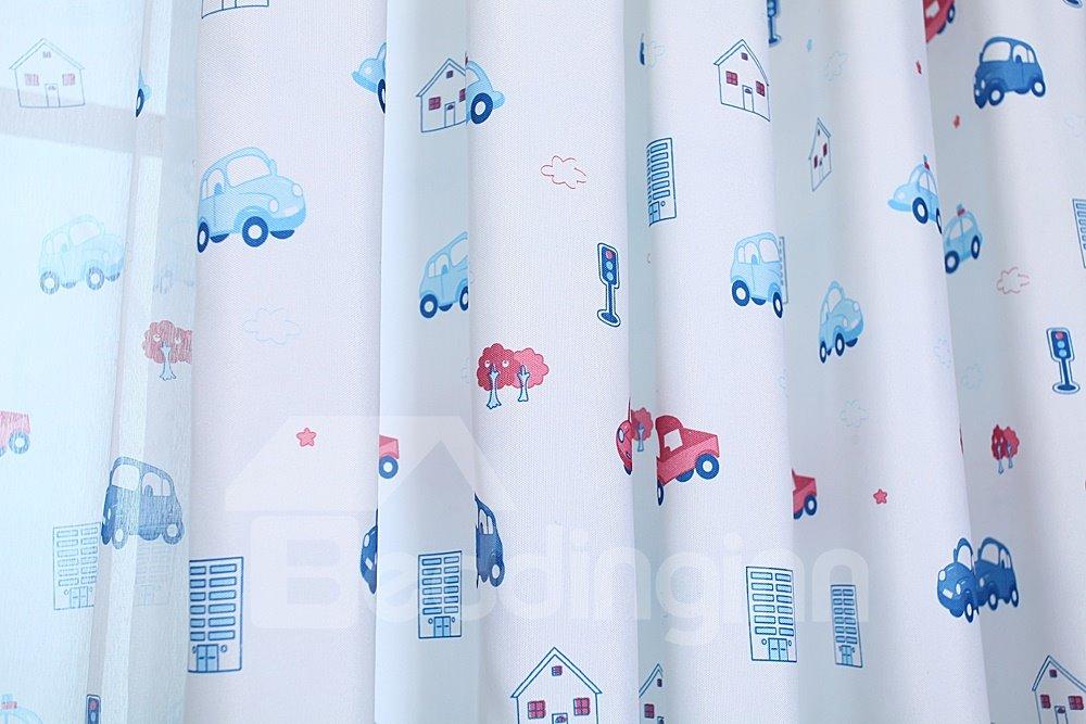Cartoon Cars Printing Grommet Top Two-piece Custom Curtain