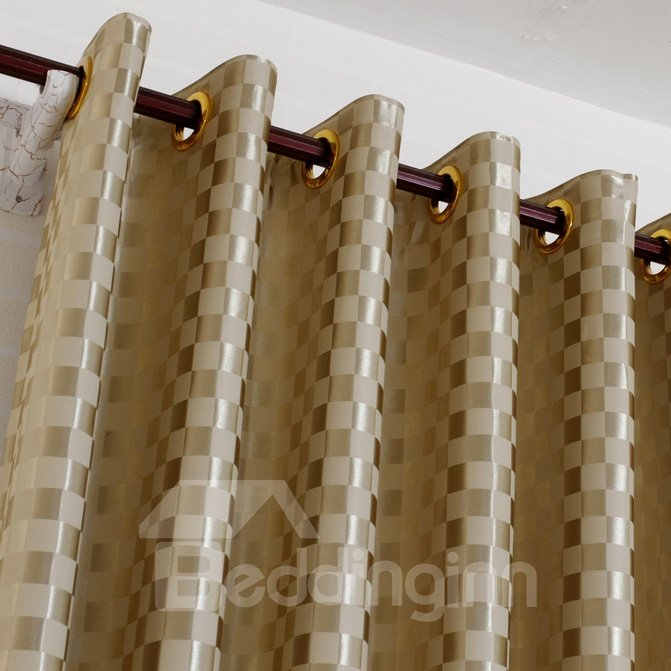 Luxury Shining Cloth with Squares Grommet Top Custom Curtain
