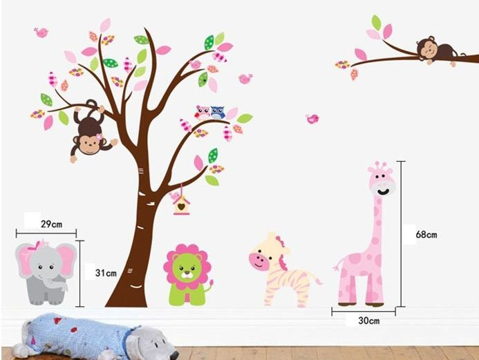 Cute Animal in Forest Pattern Home Decoration Wall Stickers