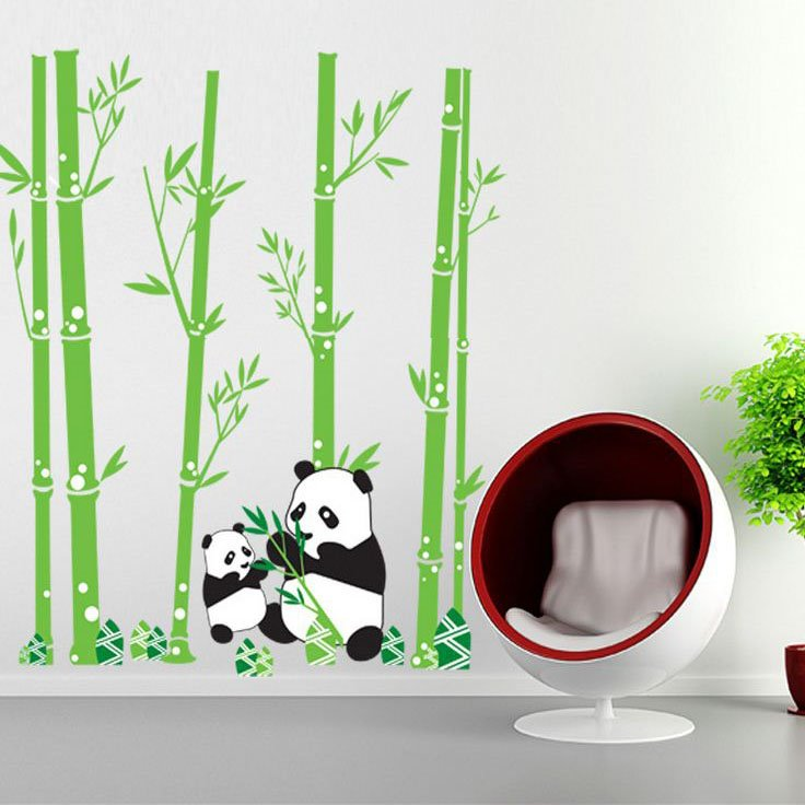 Lovely Panda and Bamboo Forest Pattern Wall Stickers