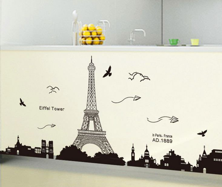 Gorgeous Eiffel Tower and Sea Gull Pattern Wall Stickers