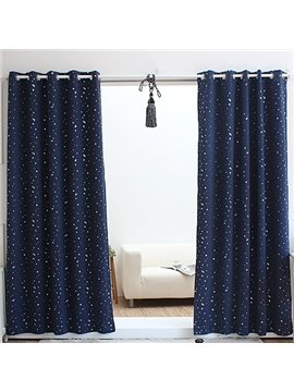 Glamorous Navy Blue with White Spot Grommet Top Custom Curtain
