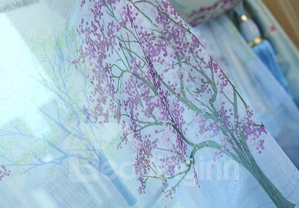 High Quality Fabulous Trees Printing Custom Sheer Curtain