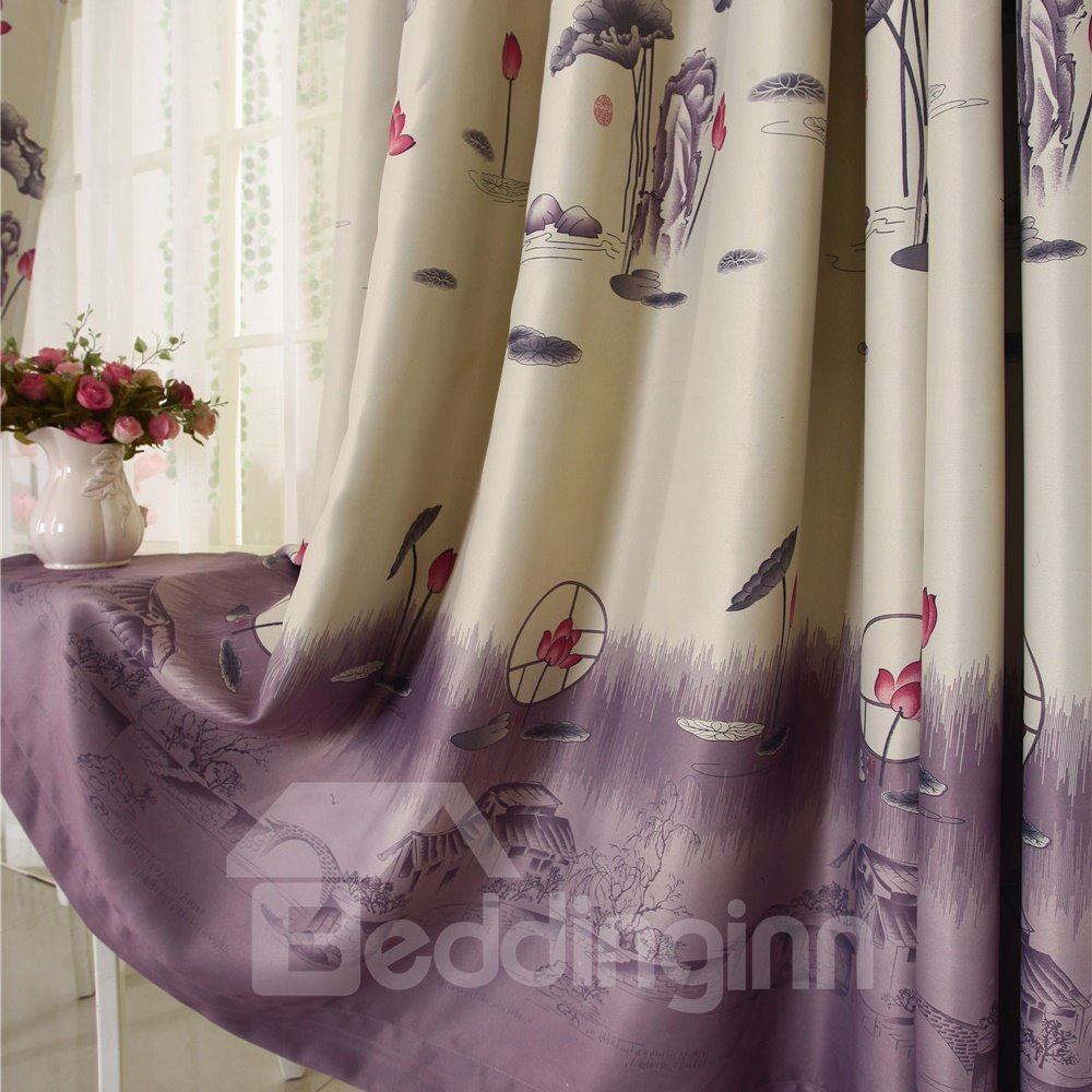 Romantic the Lotus Pool by Moonlight Grommet Top Custom Curtain