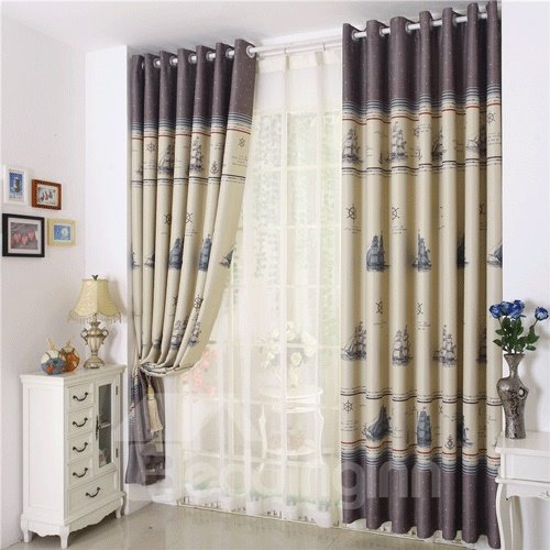 Fabulous Unique Boat Printing Grommet Top Two-piece Custom Curtain
