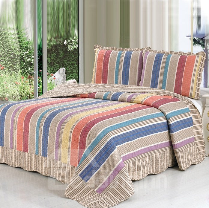 Gorgeous Rainbow-like Stripe Pattern Full Cotton Bed in a Bag