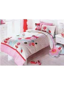 Very Beautiful Pink Night Owl on the Tree Print 3-Piece Cotton Duvet Cover Sets