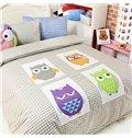 Four Different Color Owls Print 4-Piece Checks Cotton Duvet Cover Sets