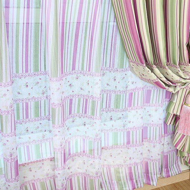 Elegant Flower Interpersed Strips Pattern Custom Sheer Curtain