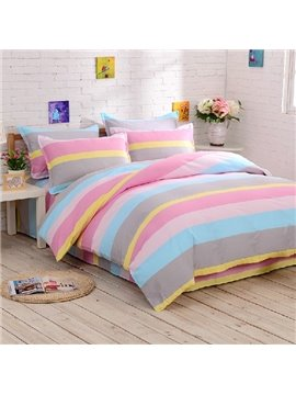 Amazing Contracted Design Rainbow-like Stripe Pattern Sheet