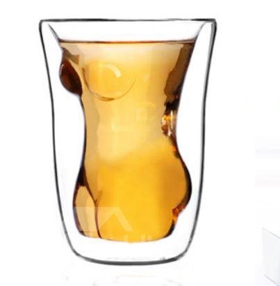 New Arrival Wonderful High Boron Silicon Glass Beauty Women Double Transparent Cup