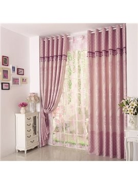 Pretty Jacquard Pattern Two-piece Grommet Top Custom Curtain
