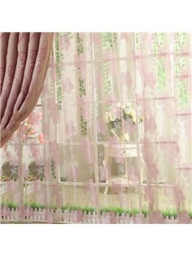 Subtle Pretty Pink Flower Print Custom Sheer Curtain