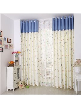 Lovely Little Houses Print Two-piece Grommet Top Custom Curtain