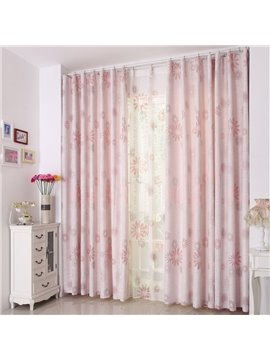 Fabulous Elegant Pink Sunflower Pattern Grommet Top Two-piece Custom Curtain