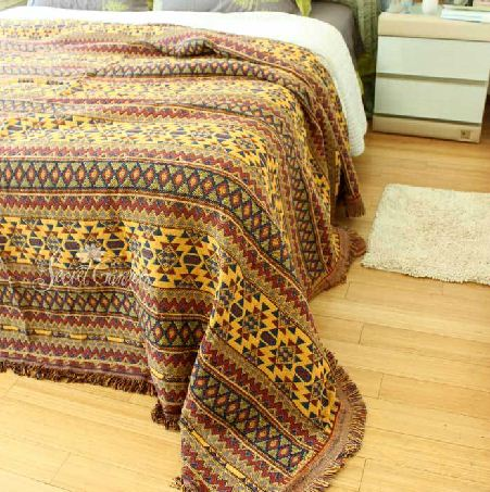 Fancy Vibrant Bohemia Style Stripe Pattern Blanket 10981479