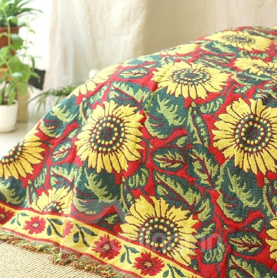 Fancy Adorable Sunflower Tassel Detail Full Cotton Blanket