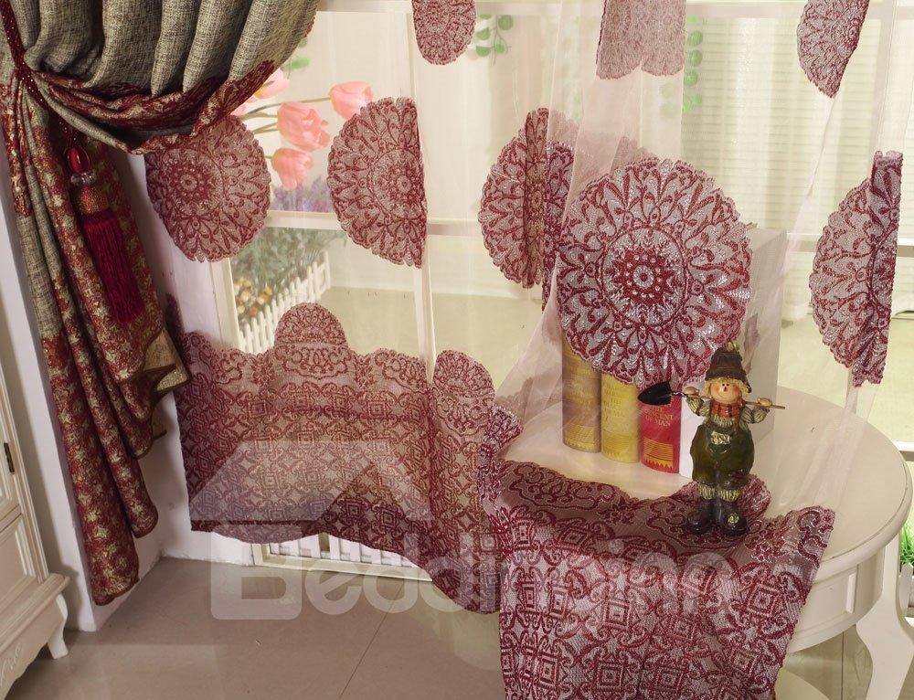 High Class Luxurious Elegant Silky Design Custom Sheer Curtain