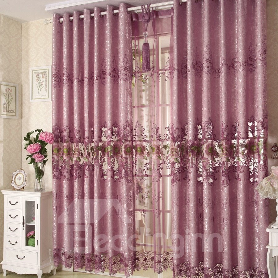 Cozy Purple Rose And Green Leaves Lace Border Grommet Top Custom Curtain