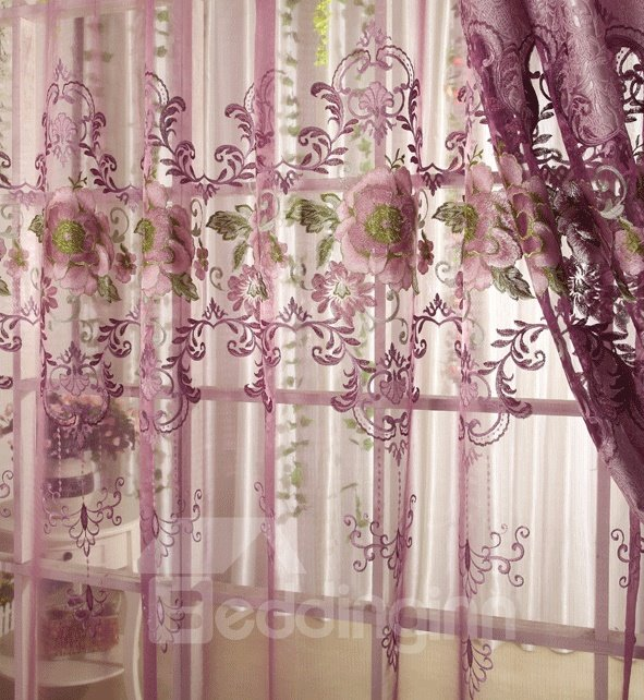 Dreamlike Purple Rose And Lace Border Custom Made Sheer