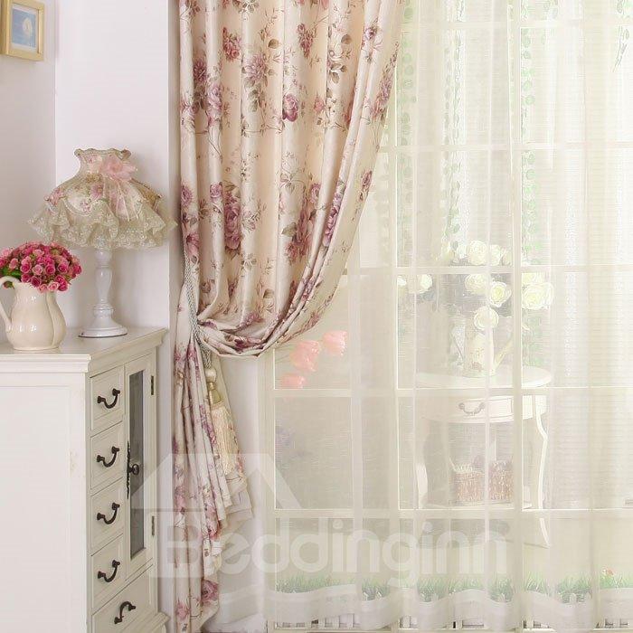 High Class Romantic Cream-coloured Design Custom Sheer Curtain
