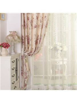 Romantic Cream-Colored Floral Printing Custom Sheer Curtain