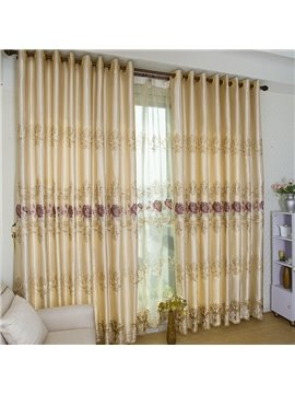 Luxury Golden Color and Purple Flower Stripe Grommet Top Custom Curtain