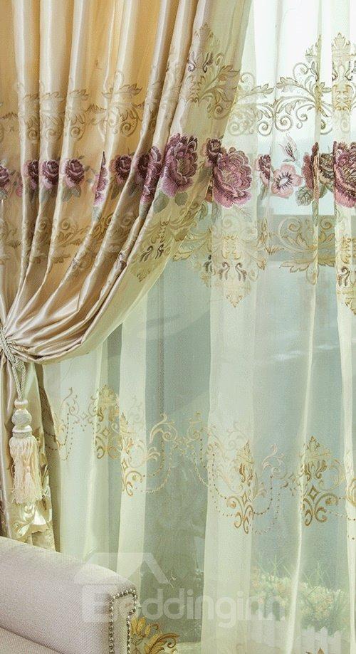 Fantasy Yellow And Purple Flower Pleated Custom Sheer Curtain