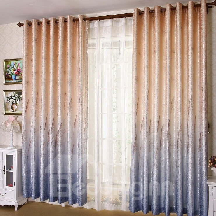 High Class Super Elegant Reed Printing Grommet Top Two-piece Custom Curtain