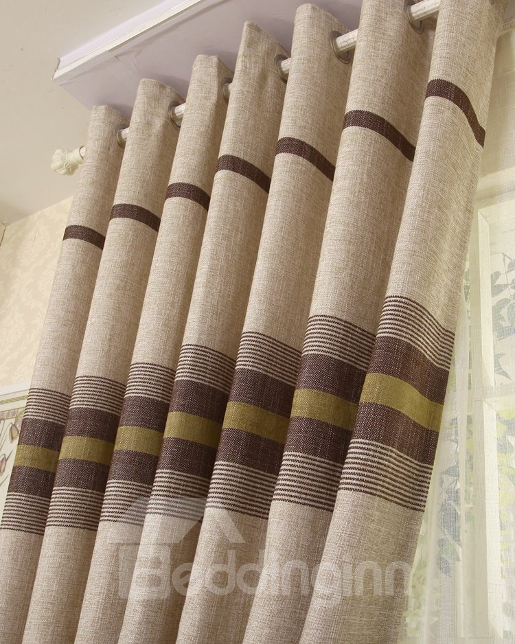 Top Class Super Elegant Stripe Design Grommet Top Two-piece Custom Curtain
