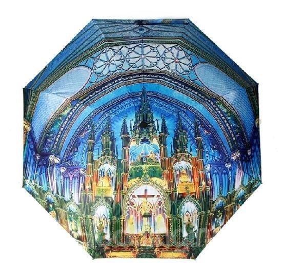 Top Quality Amazing 3D Three-Dimensional Church Pattern Sun Protection Umbrella