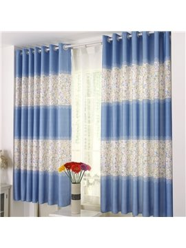 Fresh Blue Stripe and Little Flowers Grommet Top Curtain